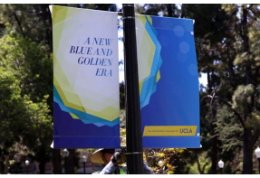 Banners go up on campus for The Centennial Campaign for UCLA.