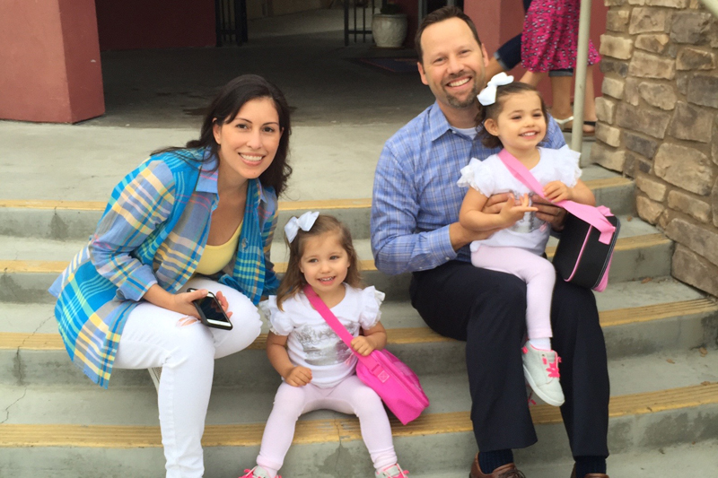 Evangelina Vaccaro (far right), who received Dr. Kohn's treatment for bubble baby disease in 2012, with her family before her first day of school.