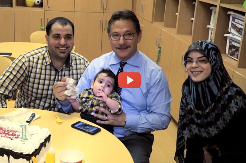 Hussein celebrates bday with Dr. Kohn and parents