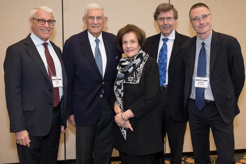 At a celebratory lunch, the three Broad Stem Cell Research Center directors post with Eli & Edythe Broad.