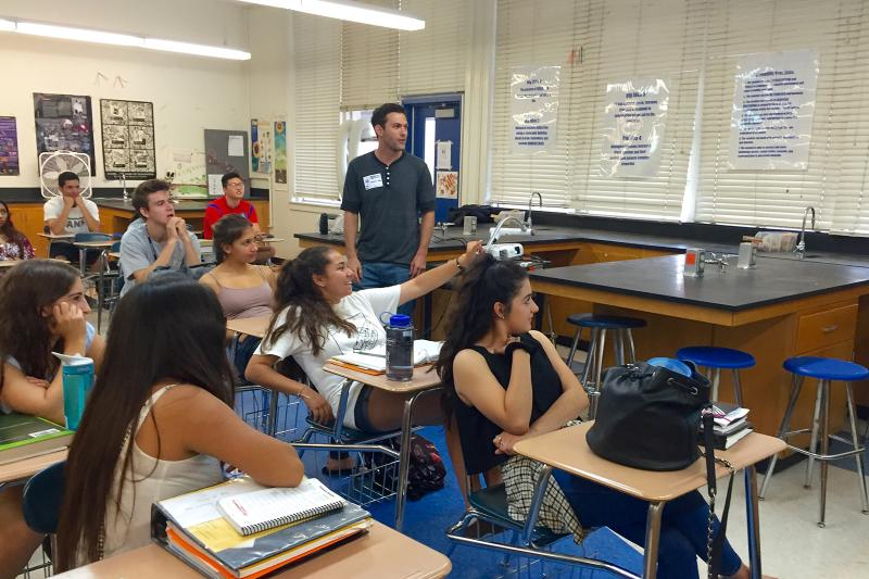 Culver City High School students discussed stem cell science with Dr. Michael Hicks at Stem Cell Day