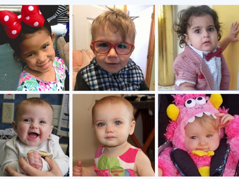 Photos of six babies and children who received the gene therapy for ADA-SCID