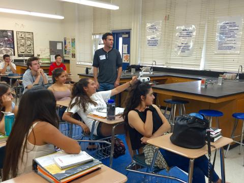 Culver City High School students discussed stem cell science with Michael Hicks at Stem Cell Day