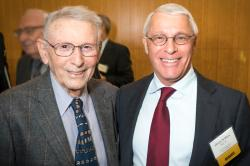 From left: award namesake Paul Berg of the Stanford University Department of Biochemistry and awardee Owen Witte